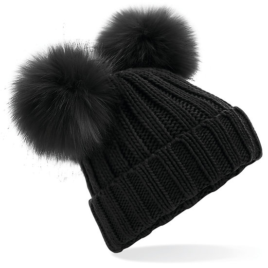Cappellino Doppio Pom Nero