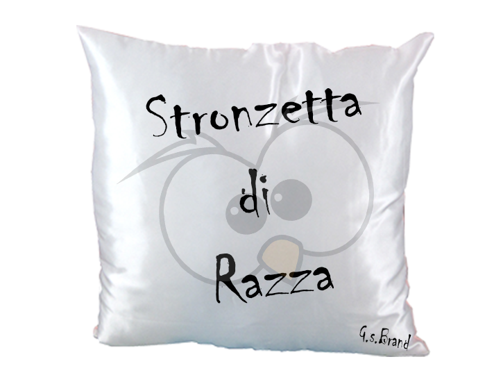 Cuscino in Raso Bianco/Rosso Stronzetta di Razza