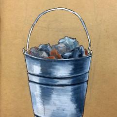pail of rocks