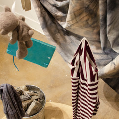 stripes, little notes, grey bear, pail of rocks, carrier, pecans, spyglass, cosmic fabric, scarf, arrow