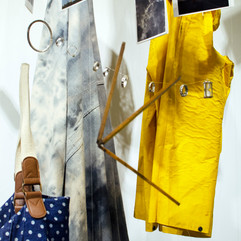 tools of use, carrier, silver, cosmic fabric, yellow coat, memory cards