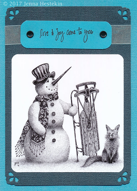 Christmas Cards ~Snowman on Blue
