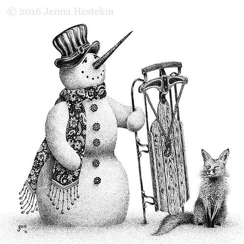 Snowman Fine Art Print or Notecards