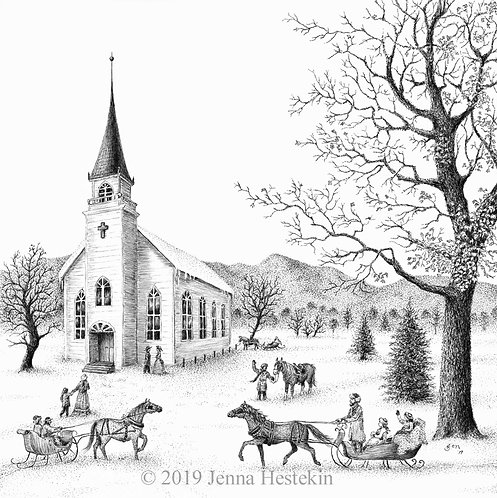 Country Church Fine Art Print or Notecards