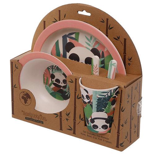 kids Dinner Set with a Panda Design