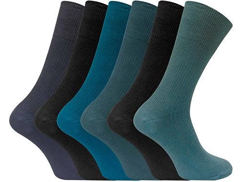6 Pairs Mens Non Elastic 100% Cotton Socks