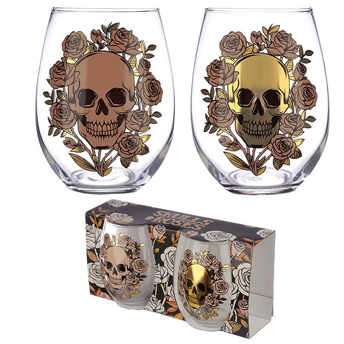 Skull and Roses Set of Two Tumblers