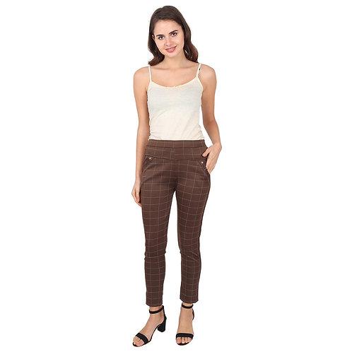 Women's Brown checked Cotton pants