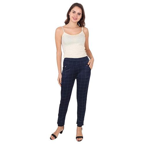 Women's blue checked Cotton Pants