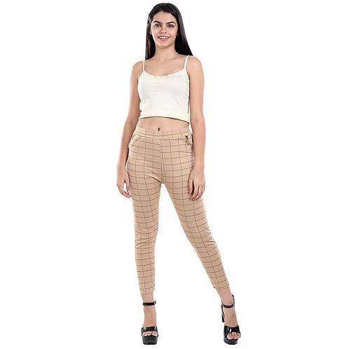 Women's Beige checked Cotton pants