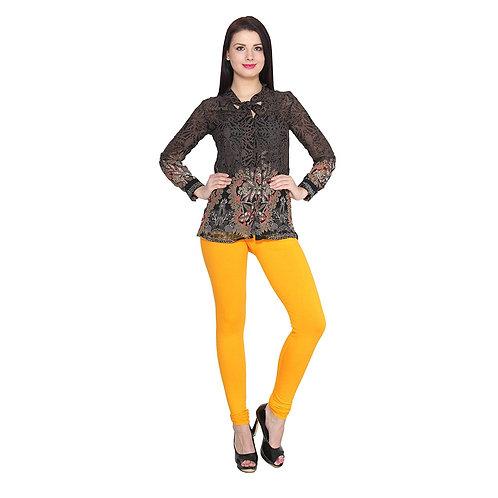 Women's Mustered yellow Cotton Lycra Stylish legging