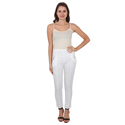 Women's white checked Cotton Pants