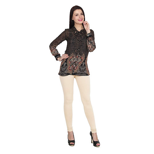 Women's Light Cream Cotton Stylish legging
