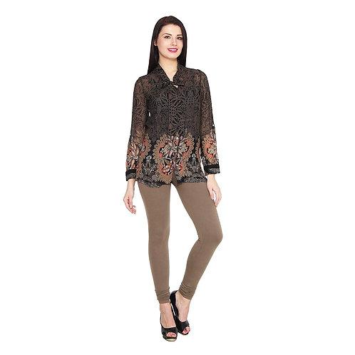 Women's light brown Cotton Stylish legging