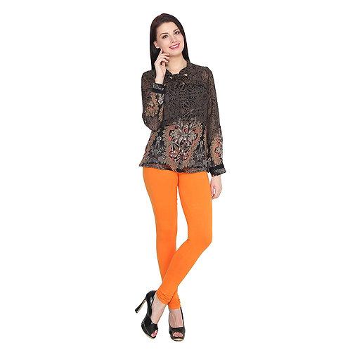 Women's Orange Cotton Lycra Stylish legging