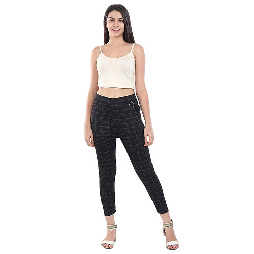Women's Black checked Cotton Pants