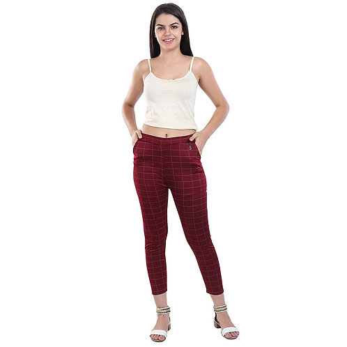 Women's Maroon checked Cotton pant