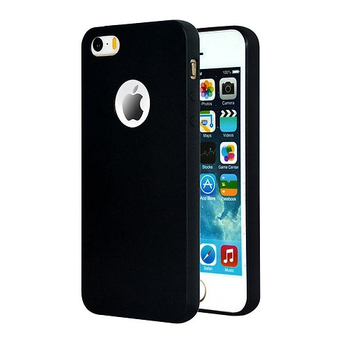 Soft Silicone Slim Logo black Cover for iPhone 5/5s
