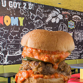 Try Our Cajun Bayou Alligator Burger at Bistronomy B2B!