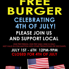 FREE Burger for 4th of July at B2B
