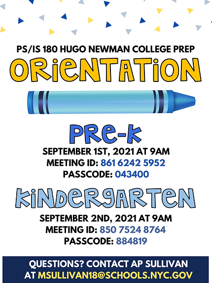 Pre-K & Kindergarten Virtual Orientation Flyer