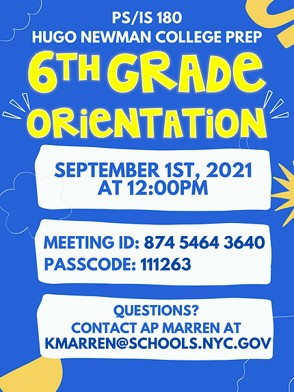 6th Grade Orientation Flyer