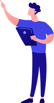 Ilustration of man in blue shirt and pants pointing