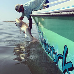 Ultra Audioworks tag teaming the jetty this morning for a 42inch Red!! #redfish #ponceinlet #teamult