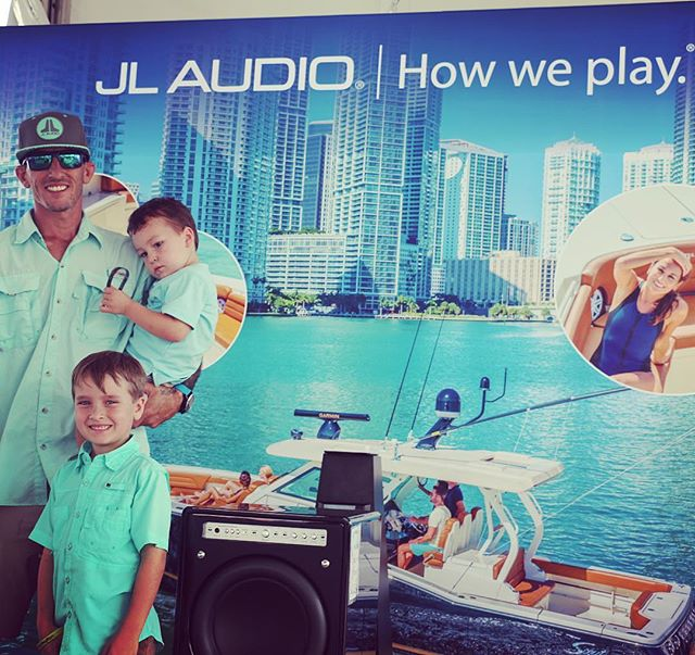 Photo OP with the apprentices at the Miami International Boat Show! A lot of great Marine Audio, Lig