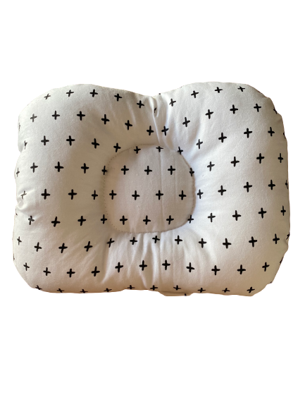 Almofada de braço para apoio do bebê na amamentação cruzetas branca
