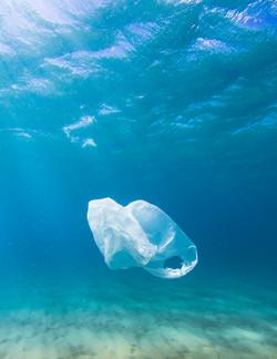 Bolsa de plástico en el océano