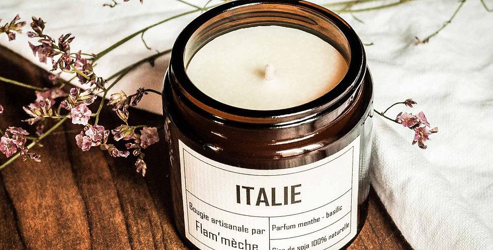 Bougie aux huiles essentielles - Senteur Menthe poivrée et basilic tropical
