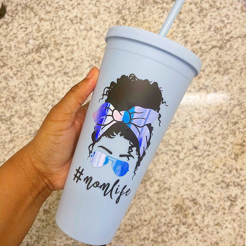 #momlife Bandana Curly Girl Cold Matte Tumbler