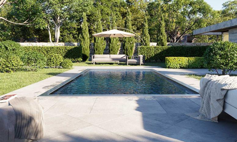 Edelstahlschwimmbecken im Garten Haus Outdoor