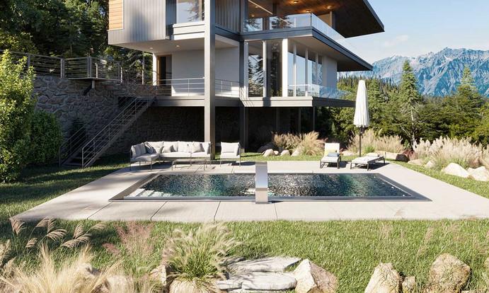 Pool aus Edelstahl Skimmerpool Garten Villa