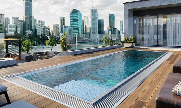 Luxuspool Überlaufpool Edelstahl Garten Villa