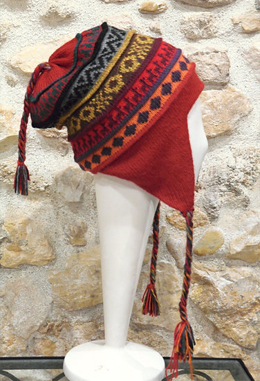 Bonnet péruvien en alpaga réversible Terre