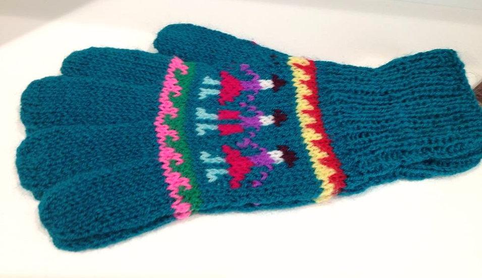Gants Turquoise fait-main laine