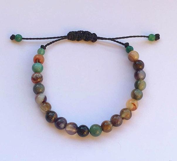 Bracelet Agates fumées - réglable