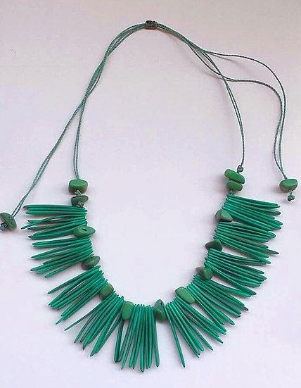 Collier Plastron réglable Tagua Turquoise