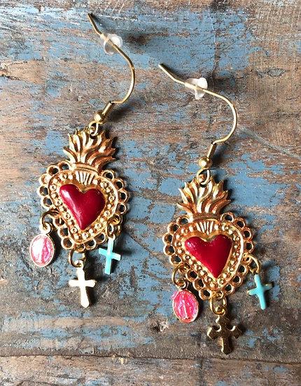 Boucles d'Oreilles Cœurs Sacrés Bohème