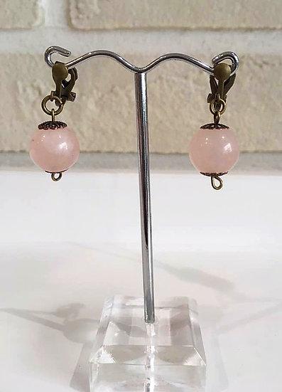Boucles d'oreilles Quartz Rose - Collection Grèce