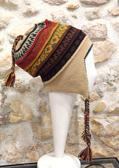 Bonnet péruvien en alpaga réversible Huaraz