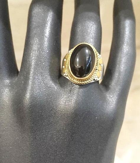 Bague Onyx - Argent 925 et de l'Or