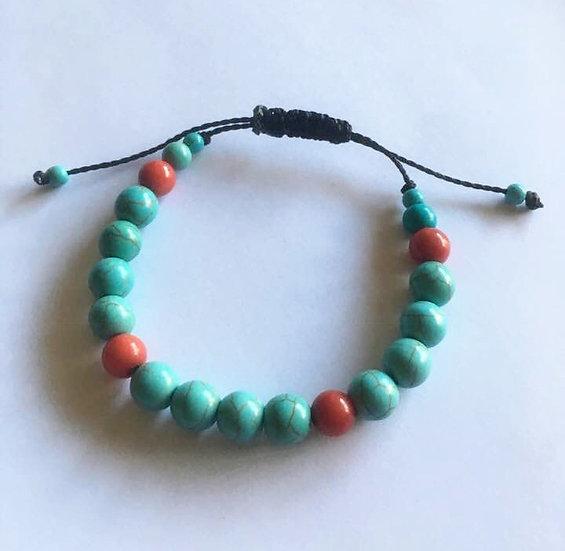 Bracelet Turquoise Corail - réglable