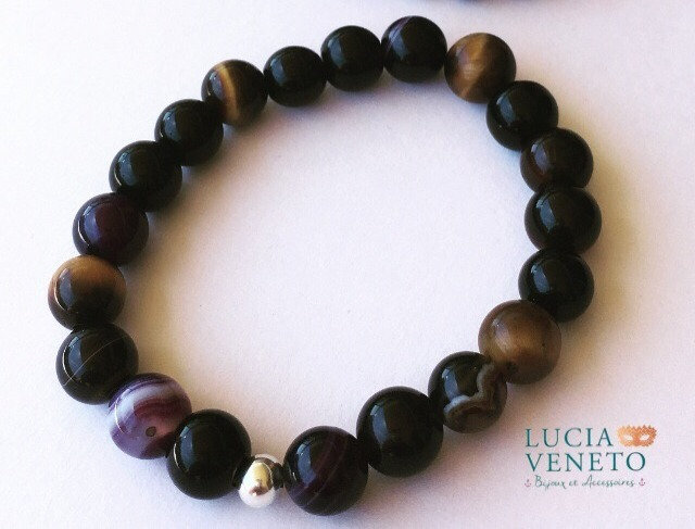 Bracelet Onyx - Oeil de Tigre -Agate