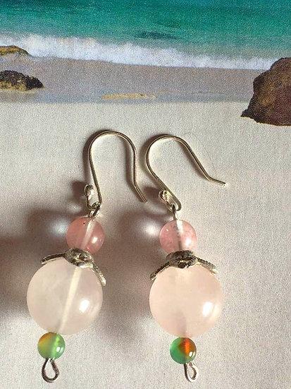 Boucles d'oreilles Quartz Rose - Agate vert