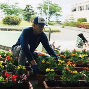 大山台農園クラブで花植え