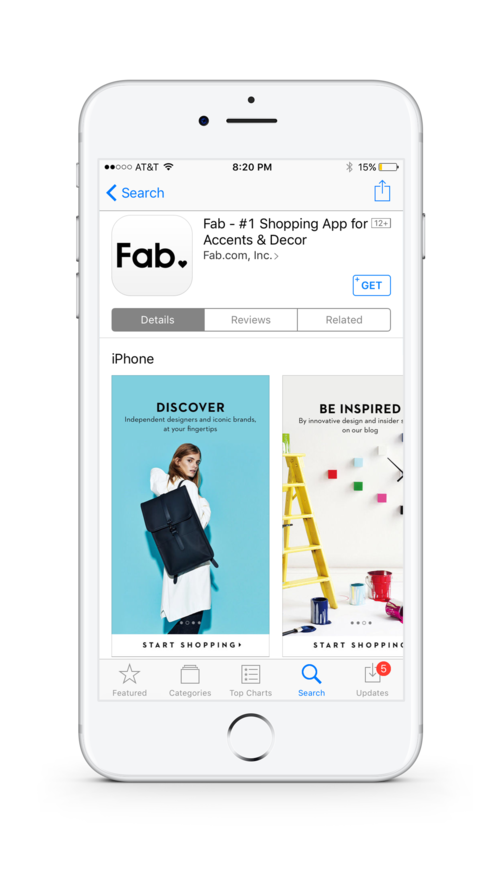 Webby Award Winning Fab.com App re-design