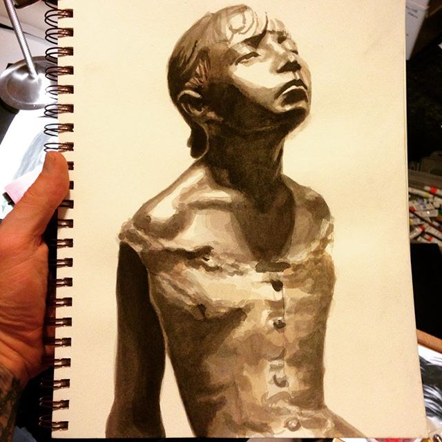 master copy my favorite #sculpture #degas #littledancer #watercolor #umd #sketchbook #master #copy #